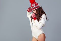 Beautiful winter fashion model. Studio shoot Royalty Free Stock Photo