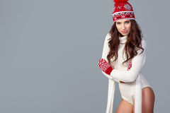Beautiful winter fashion model. Studio shoot Royalty Free Stock Images