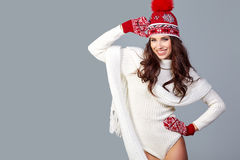 Beautiful winter fashion model. Studio shoot Stock Image