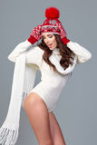 Beautiful winter fashion model. Studio shoot Stock Photo