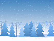 Beautiful winter flat landscape background. Christmas forest woods. New Year vector greeting card. Royalty Free Stock Image