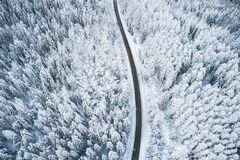 Free Beautiful Winter Forest And Road. Aerial View Royalty Free Stock Photography - 211333127