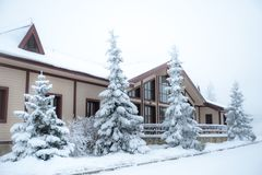 Beautiful winter forest and snow-covered house. Firs and pines in the snow, landscape royalty free stock photo