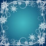 Beautiful winter frame made of snowflakes Stock Images