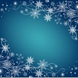 Beautiful winter frame made of snowflakes Stock Photography