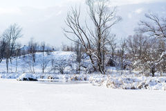 Beautiful Winter frozen lake- Sofia,Bulgaria. Beautiful Winter mountain landscape - South Park in Sofia, Bulgaria stock photography