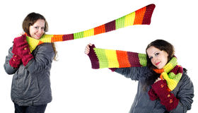Beautiful winter girl in  colorful scarf Royalty Free Stock Photo