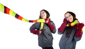 Beautiful winter girl in  colorful scarf Royalty Free Stock Images
