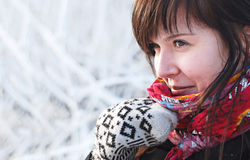 Beautiful Winter Girl Looking Away Stock Images
