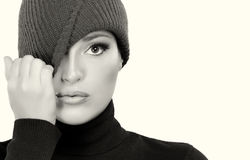 Beautiful Winter Girl in Wool Cap Cap. Monochrome Portrait Royalty Free Stock Image