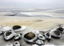Beautiful winter ice on Curonian spit shore, Lithuania Stock Photography