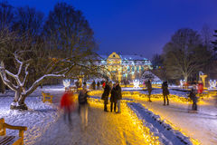 Beautiful winter illumination at the Park Oliwski in Gdansk, Poland. GDANSK, POLAND - JANUARY 8, 2017: Beautiful winter illumination of 500 000 light bulbs at Stock Images