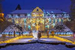 Beautiful winter illumination at the Park Oliwski in Gdansk, Poland Royalty Free Stock Images