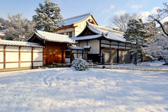 Beautiful winter in Kyoto, Japan. Here is in Kyoto, Japan. The snow yard make temple become more friendly, beautiful. This is the great place that you should not Royalty Free Stock Images