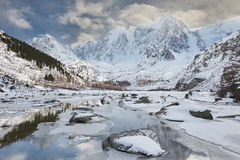 Beautiful winter landscape, Altai mountains Russia. Royalty Free Stock Photo