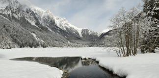Beautiful winter landscape at Antholz Lake, Italian Alps, South Tirol. Stock Photos