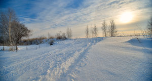 Beautiful winter landscape with blue sky Stock Photo