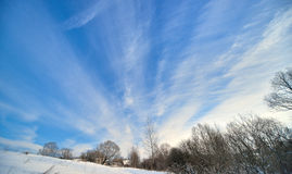 Beautiful winter landscape with blue sky Stock Image