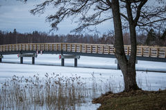 A beautiful winter landscape with a bridge over the frozen river. Overcast day Royalty Free Stock Photos