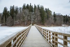 A beautiful winter landscape with a bridge over the frozen river. Overcast day Stock Photo