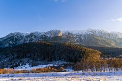 winter landscape with Carpati Piatra Craiului mountain Royalty Free Stock Photo