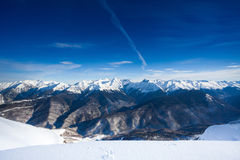 Beautiful winter landscape of Caucasus mountains Royalty Free Stock Photo