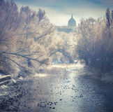 Beautiful winter landscape in the city park Royalty Free Stock Photography