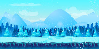 Beautiful Winter Landscape 2d game application.. Vector design. Tileable horizontally. Size 1024x512. Ready for parallax effect Stock Photos