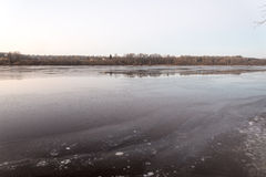 Beautiful winter landscape with frozen lake.  Royalty Free Stock Image
