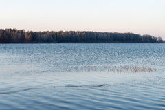 Beautiful winter landscape with frozen lake.  Stock Image