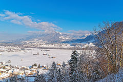 Beautiful winter landscape of Gruyere Stock Image
