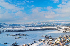 Beautiful winter landscape of Gruyeres, Switzerland Royalty Free Stock Photography