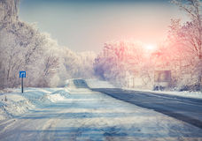 Beautiful winter landscape with highway. Royalty Free Stock Images