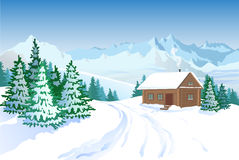 Beautiful Winter Landscape With House Royalty Free Stock Photos