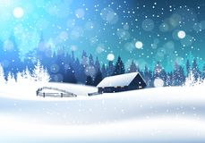 Beautiful Winter Landscape With House In Snowy Forest. Banner Flat Vector Illustration Stock Images