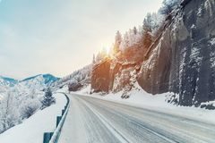 Free Beautiful Winter Landscape In The Mountains. Winter Road In The Rocks. Snowy Sunrise In The Mountains Royalty Free Stock Photo - 136763265