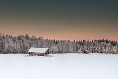 Beautiful winter landscape in Lapland Finland. With snowy trees royalty free stock photo