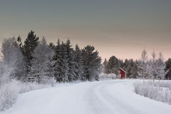 Beautiful winter landscape in Lapland Finland Stock Image