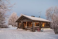 Beautiful Winter Landscape in Lapland,Finland. Winter landscape, house in the forest.Lapland,Finland Stock Image
