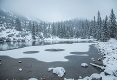 A beautiful winter landscape with a mountain lake in blizzard. Royalty Free Stock Photos