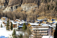 Beautiful winter landscape at mountain resort in Saas Fee Royalty Free Stock Photography