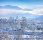Beautiful winter landscape in the mountain village Stock Photo