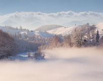 Beautiful winter landscape in mountain village Royalty Free Stock Photo