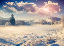 Beautiful winter landscape in the mountain village. Stock Photo