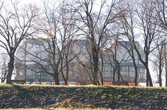 Beautiful winter landscape of Museum of Contemporary Art in Belgrade Royalty Free Stock Photos