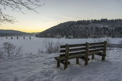 Beautiful winter landscape on Oker Dam in Harz in the frosty evening. Royalty Free Stock Image