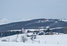 Beautiful winter landscape with an Orthodox church Royalty Free Stock Photo