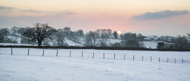 Beautiful Winter landscape over snow covered Winter countryside Royalty Free Stock Photos