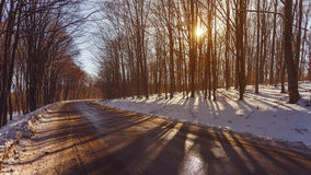 Beautiful winter landscape on the road Royalty Free Stock Photo