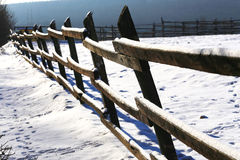 Beautiful winter landscape at a rural horse farm Royalty Free Stock Images